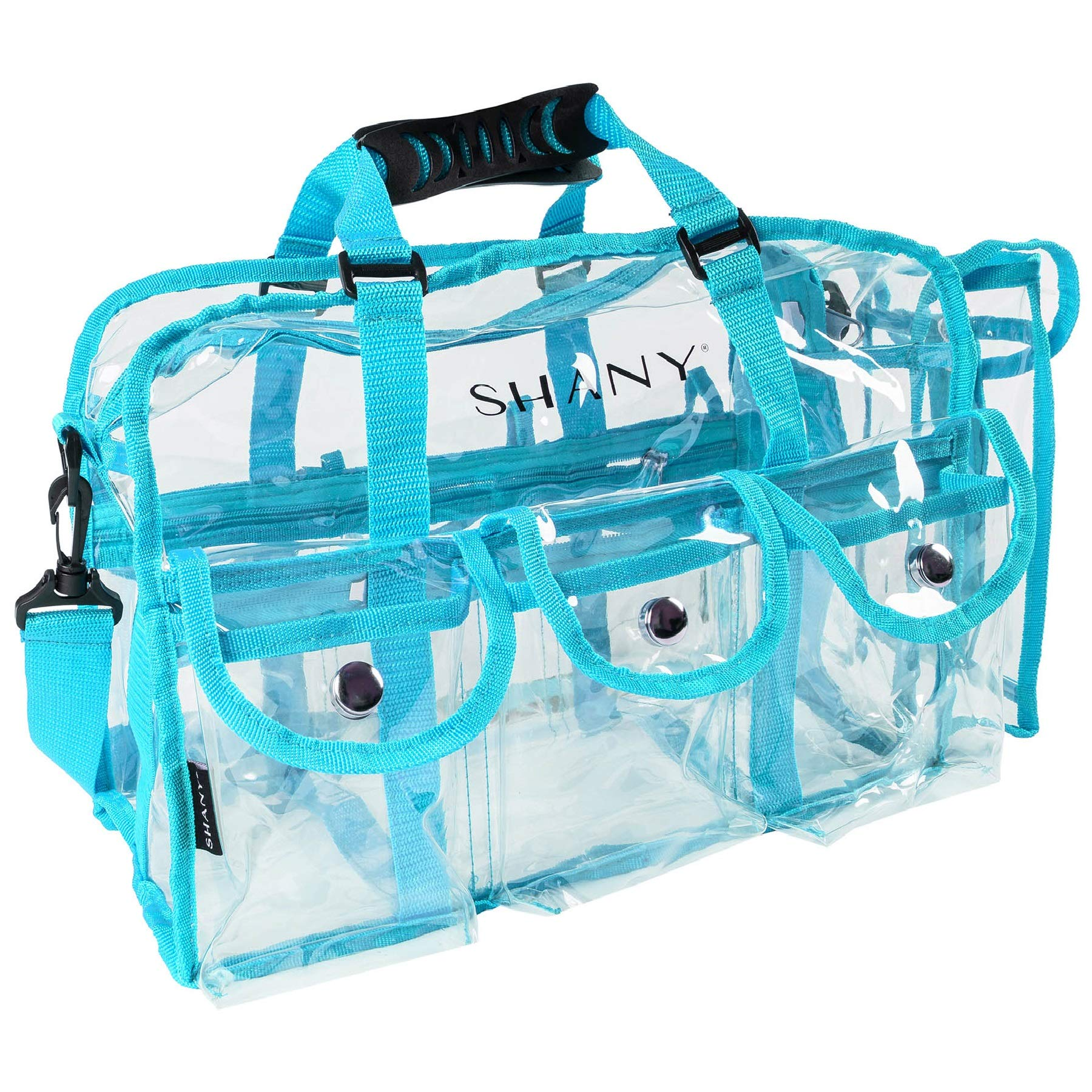 SHANY Clear PVC Makeup Bag - Large Professional Makeup Artist Rectangular Tote with Shoulder Strap and 5 External Pockets - BLUE