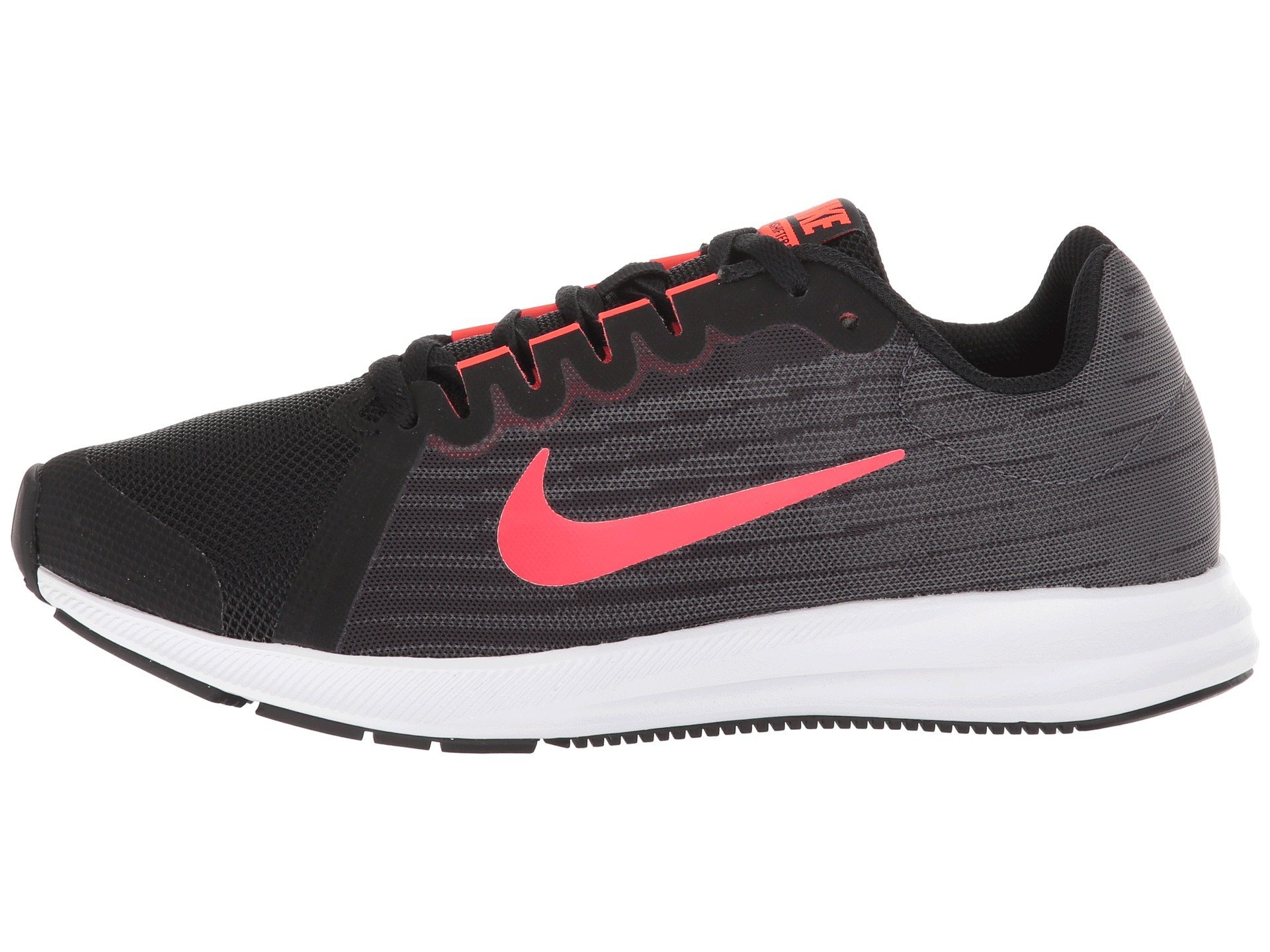 NIKE Kids Downshifter 8 (GS) Running Shoes (6 Big Kid M, Black/Bright Crimson/Dark Grey)