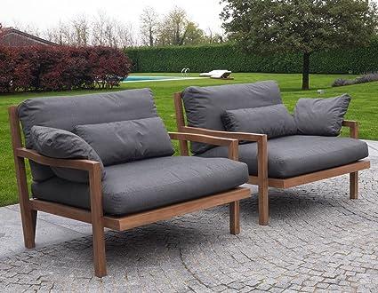 NOOSA Sillón de teca reciclado-GRIS-cólico Design-sofás ...