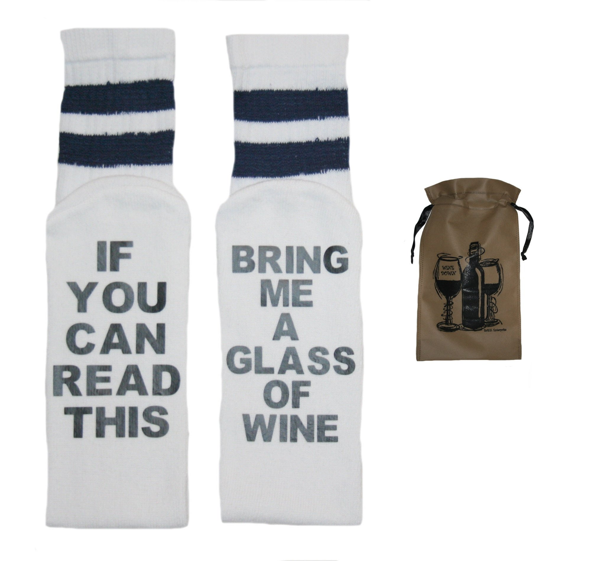 Speaking Socks Bring Me A Glass Of Wine Tube Socks & Wine Bag-2 Item Multi-Pack (9-11, White/Navy)