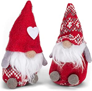 Delton Products Corp Sitting Knit Sweater Hat and Heart Hat Gnome Set 5.5 Inches Tall