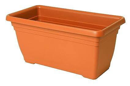 Fioriere Di Plastica Costi.Vaso Fioriera In Plastica Ics Colore Terracotta 80x35 Amazon It