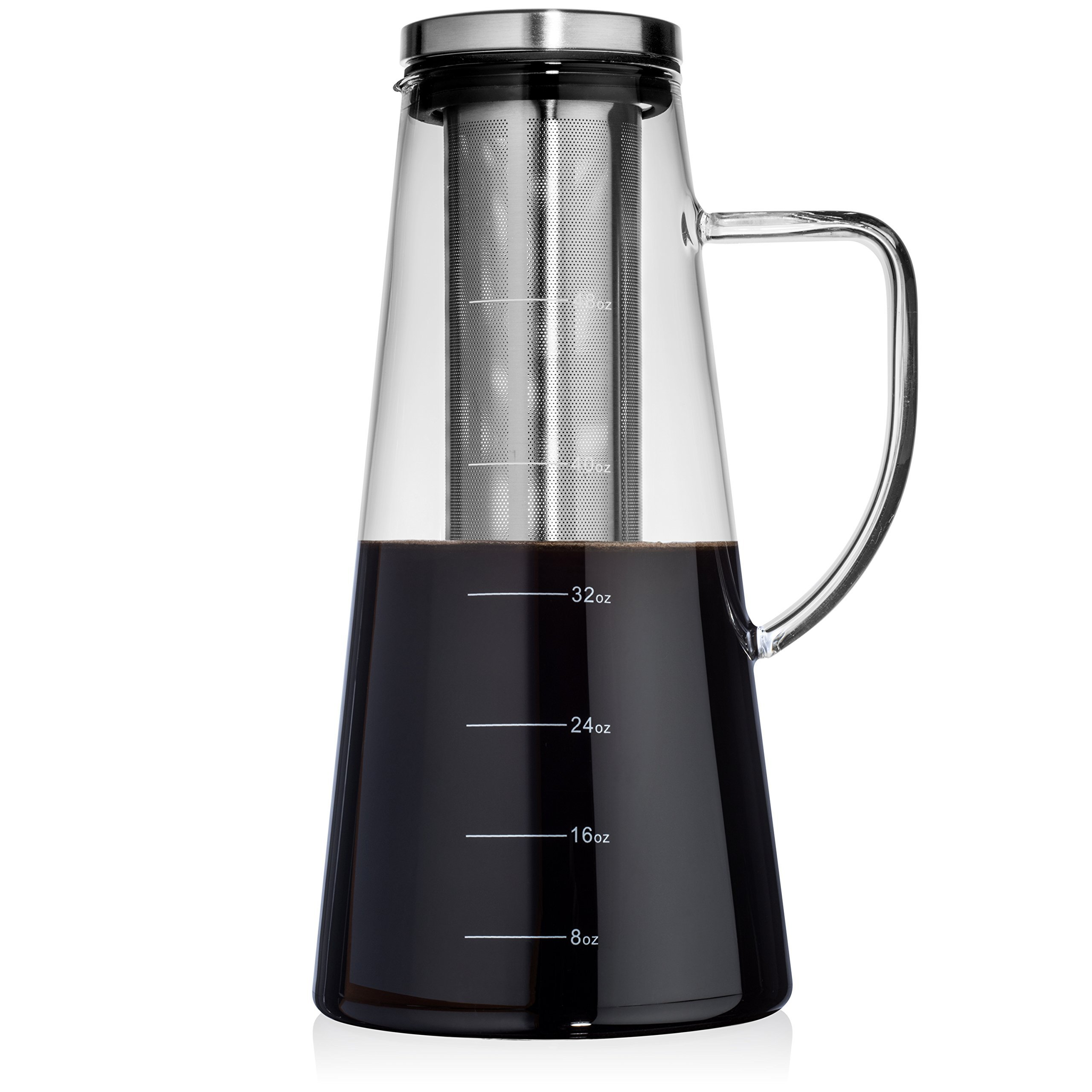 Large Cold Brew Coffee Maker, 1.5L/48oz Premium Quality Glass Carafe with Airtight Stainless Steel Lid Brews Hot or Iced Coffee & Tea, Removable Fine Mesh Filter/Fruit Infuser, Bonus Cleaning Sponge