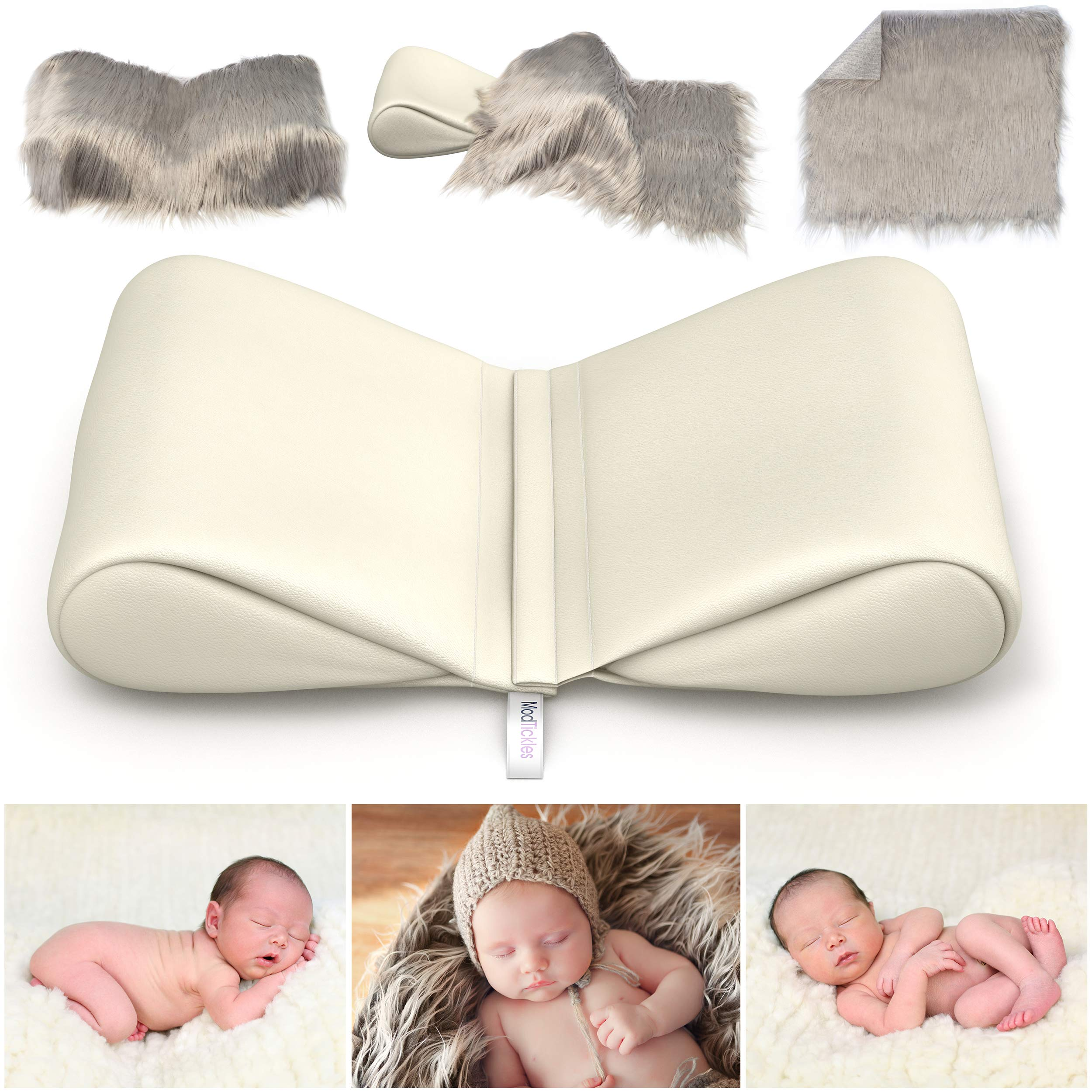 Newborn Photography Props Bundle - Infant Butterfly Posing Pillows & Soft Fur Mat - Basket Filler & Poser for Babies - DIY BabyPhotoshoot for Professional Photos - Wedge & Blanket - by ModTickles by ModTickles