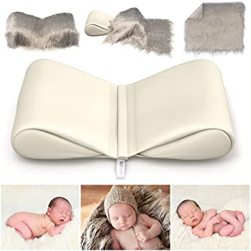 Newborn Photography Props Bundle Infant Butterfly Posing Pillows Soft Fur Mat Basket Filler Poser For Babies Diy Babyphotoshoot For