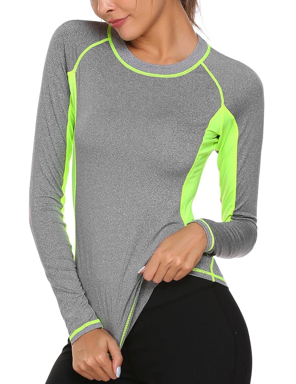 EKOUAER Frauen Neoprenanzug Rash Guard Langarm UV Sun Schutz Surfen Badebekleidung Athletic Tops