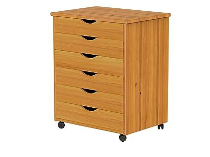 Adeptus 76152 6 Drawer Wide Roll Cart Medium Pine