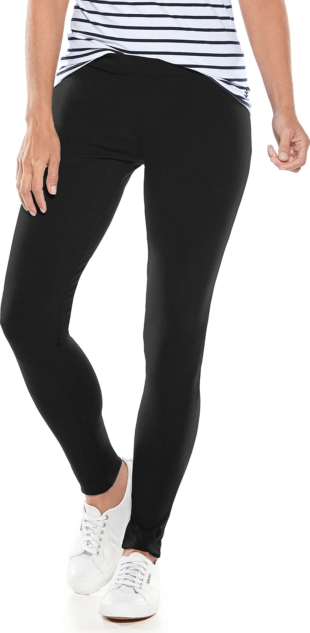 Coolibar UPF 50+ Women's Summer Leggings - Sun Protective (Medium- Black)