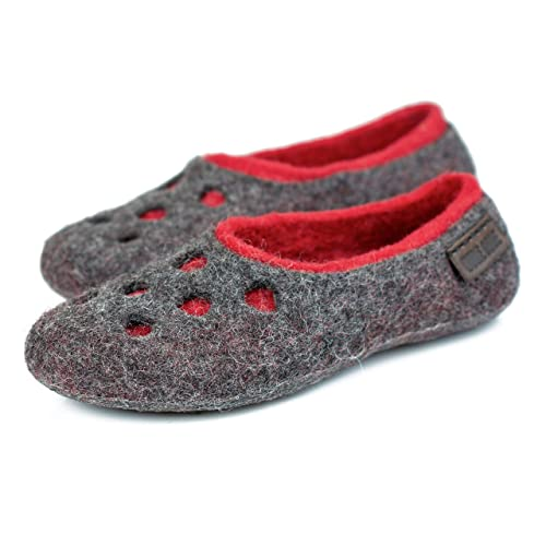 0b41c5f232d03 Moon Craters gray felted wool slippers for women, Handmade warm home ...