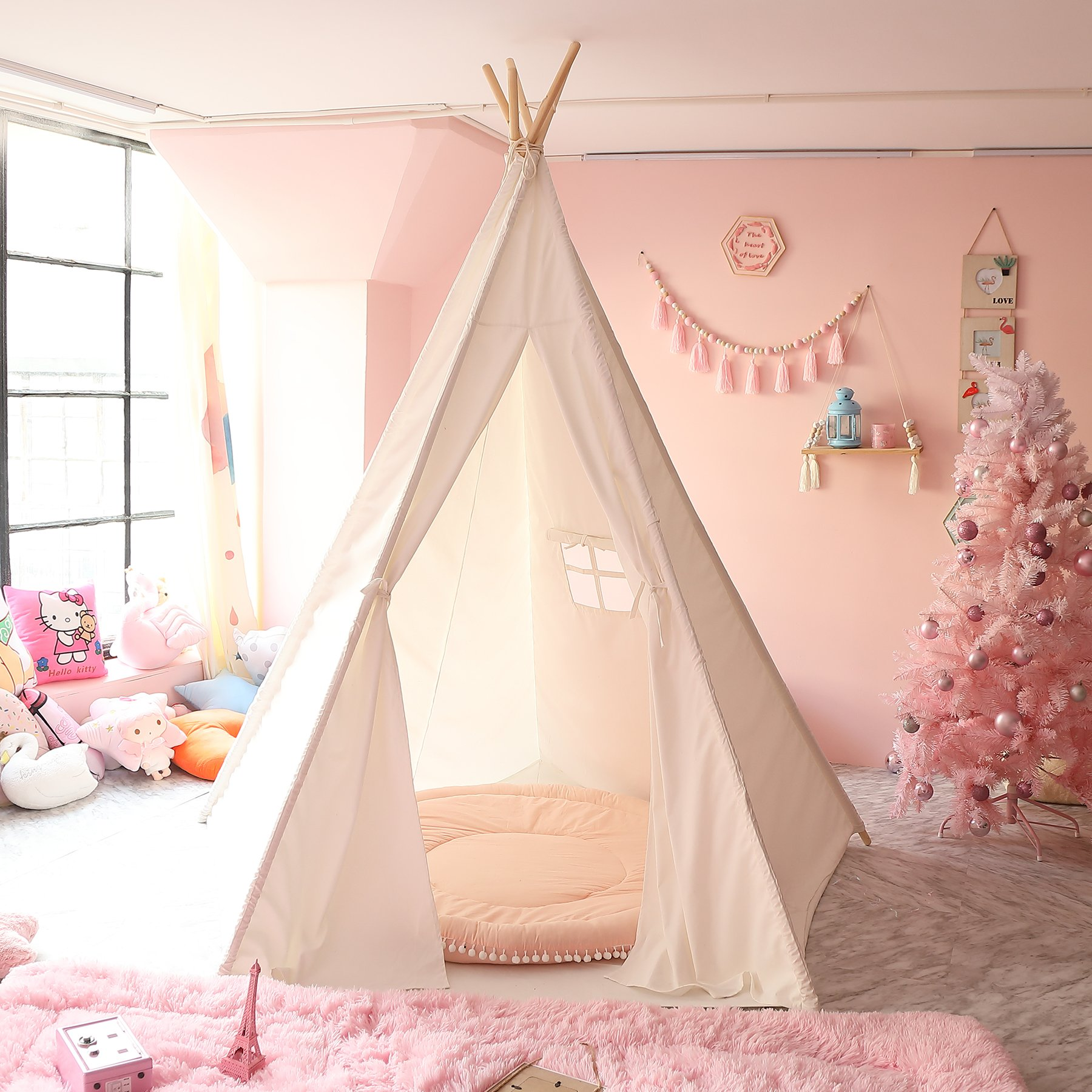 CO-Z Teepee Play Tent Foldable for Kids with Banners - Super Large, for at Least 2 Children - CPST Certificated (5 Poles - 85 Inches Height - Tarp Bottom) by CO-Z