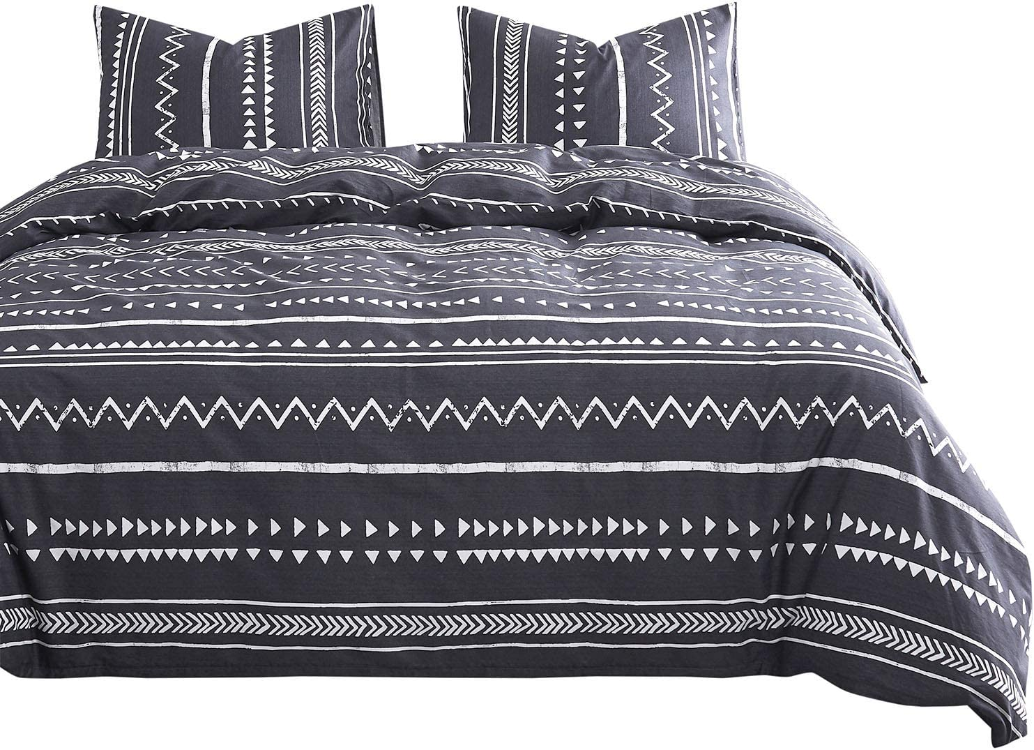 Wake In Cloud - Aztec Comforter Set, 100% Cotton Fabric with Soft Microfiber Fill Bedding, Dark Gray Grey with White Geometric Modern Pattern Printed (3pcs, King Size)