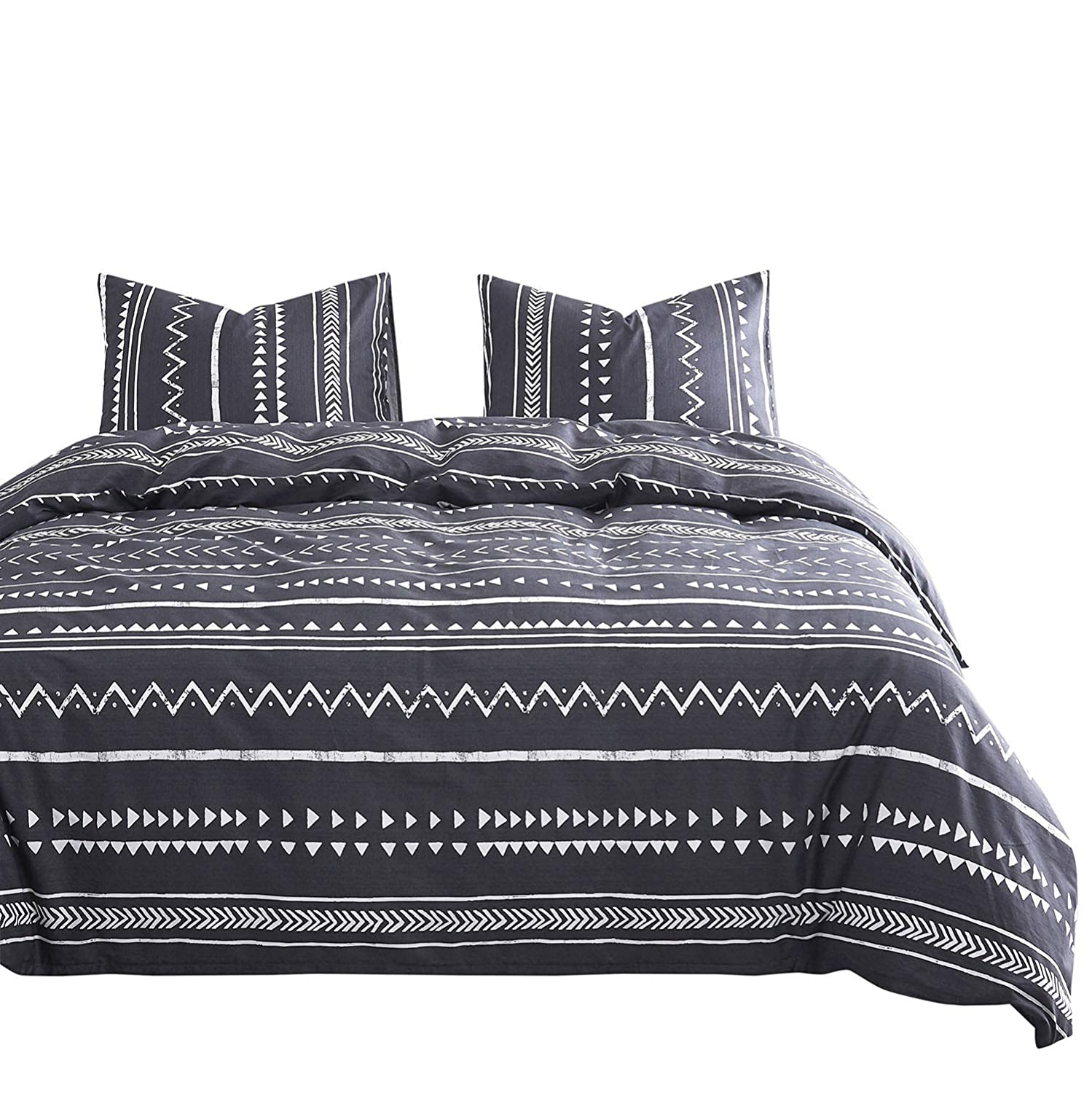 Wake In Cloud - Aztec Comforter Set, 100% Cotton Fabric with Soft Microfiber Fill Bedding, Dark Gray Grey with White Geometric Modern Pattern Printed (3pcs, Twin Size)