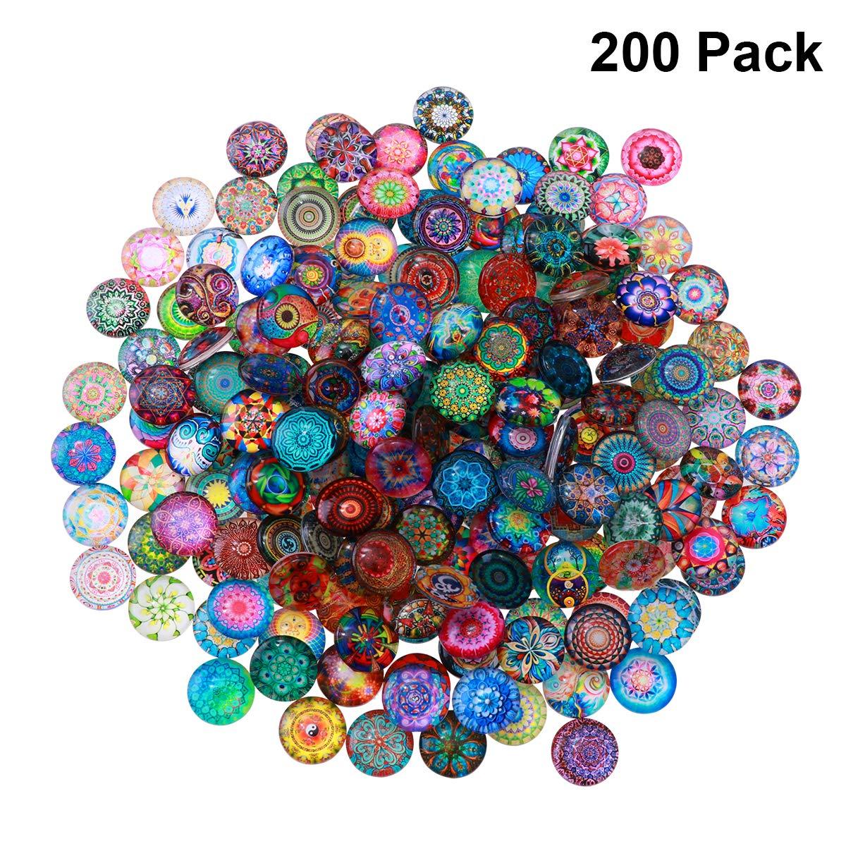 ULTNICE 14 mm bisuter/ía Juego de 200 piezas de mosaico de cristal redondo para manualidades