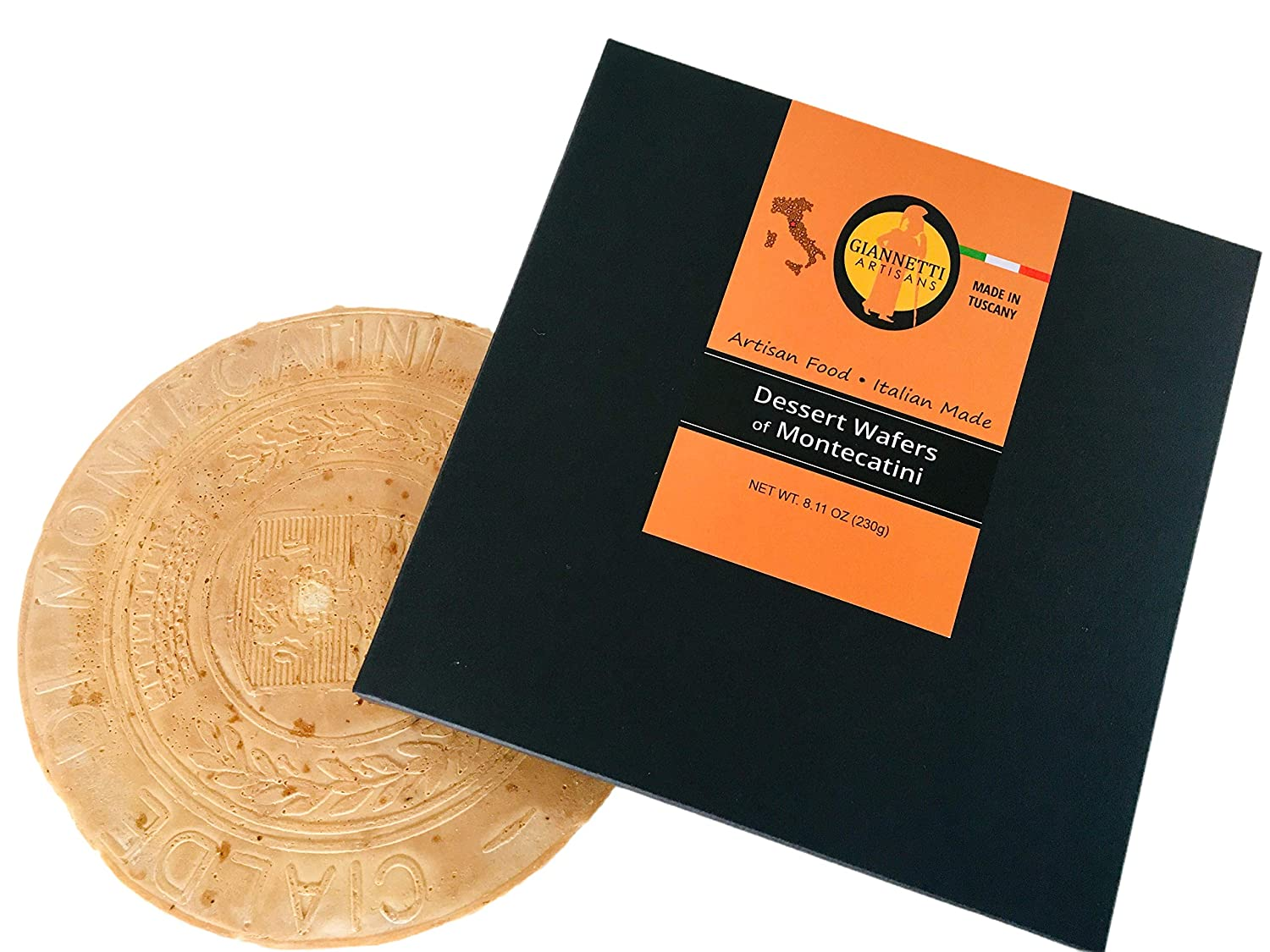 Giannetti Artisans Handmade Dessert Wafers - Cialde di Montecatini - Artisan Made with Italian Almonds, Imported from Tuscany - (8 Oz box)