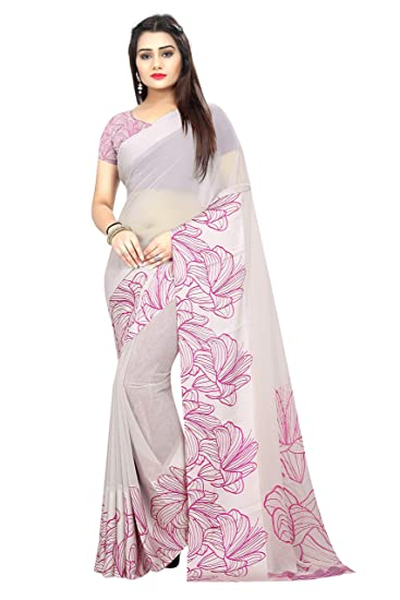 d20405643 Shailaja Sarees Women s Printed Georgette Satin Patta Saree with Blouse  Piece(Grey)  Amazon.in  Clothing   Accessories