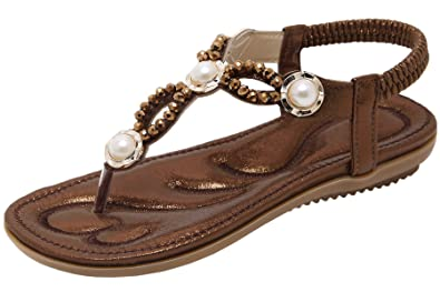 607a20b2d7d5 BIGTREE Bohemian Sandals For Women Brown Soft Sole Bling Rhinestones Elastic  Strap Sandals by 4.5 UK