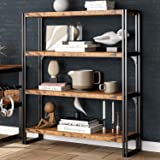 IRONCK Industrial Bookshelf and Bookcase 4 Tier, Wood and Metal Bookshelves Storage Shelves for Home Office, Sturdy Easy Asse