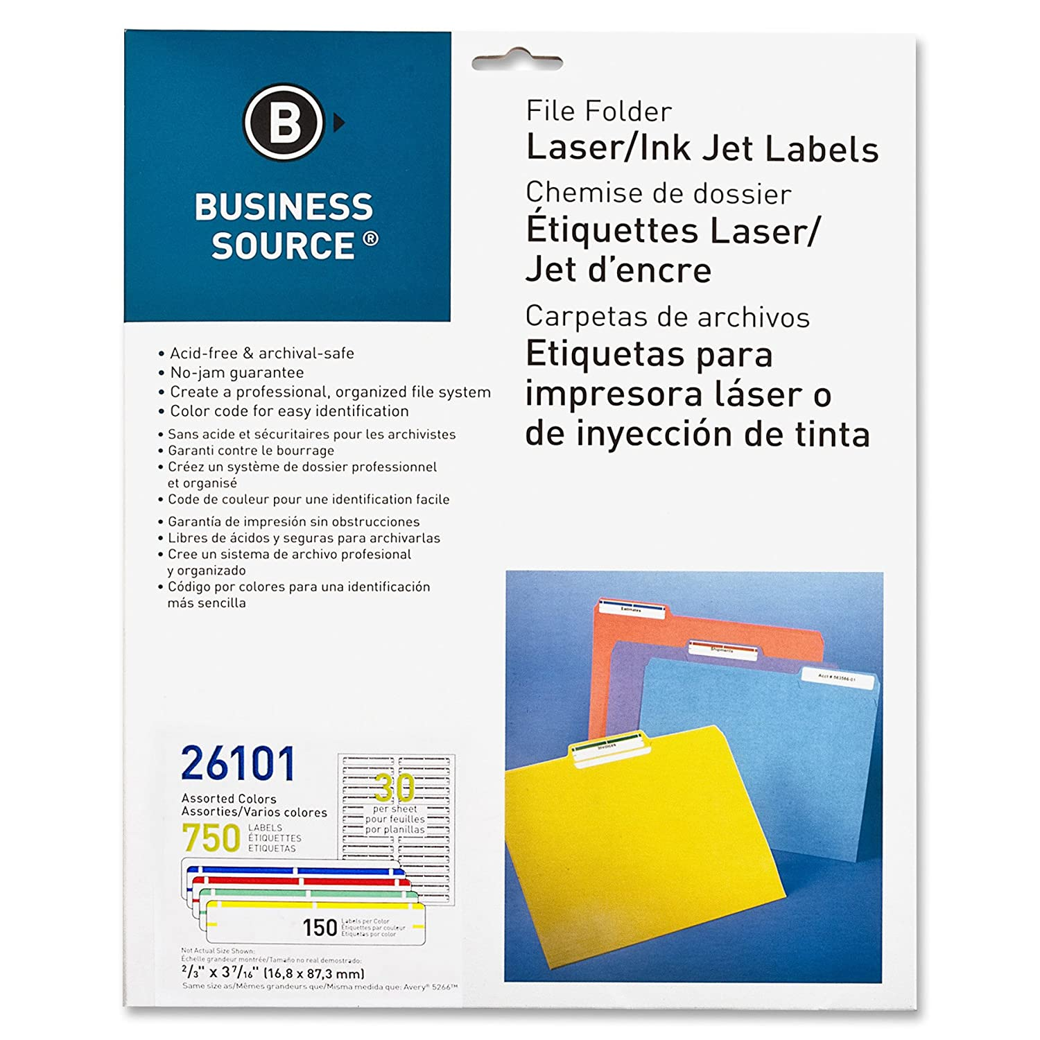 Business Source File Folder Labels - Pack of 750 - Assorted Colors