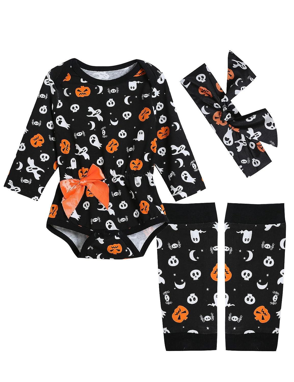 3PCS Baby Grils' Halloween Pumpkin Ghost Costume Outfits Set Long Sleeve Romper