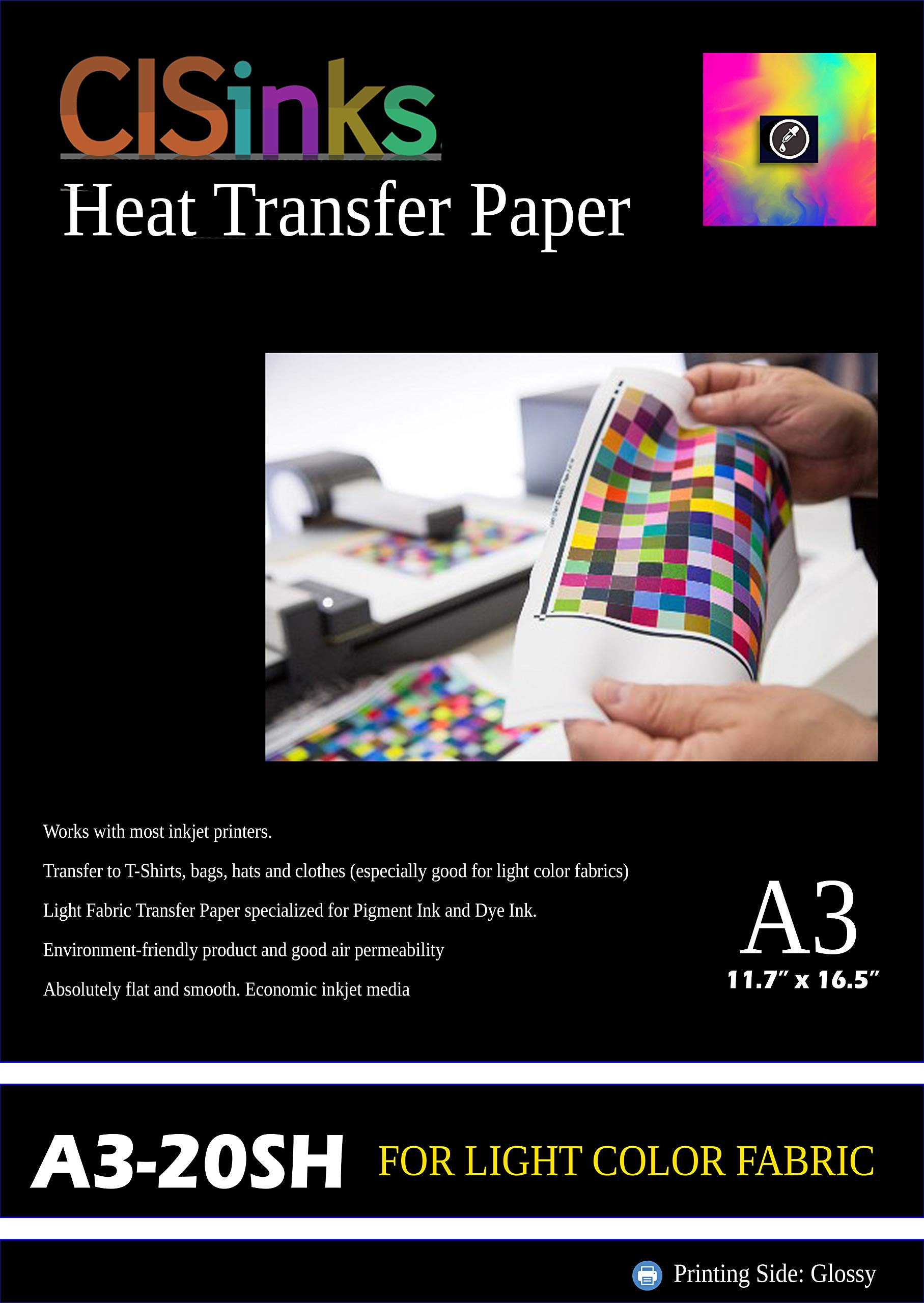 CISinks 20 Sheets Heat Transfer Paper A3 (12'' x 16.5'') for Light Color Fabrics by CIS Inks