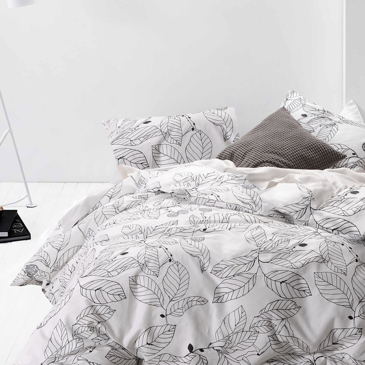 3pcs White Duvet Cover Set, Black Tree Leaves Pattern Printed Bedding