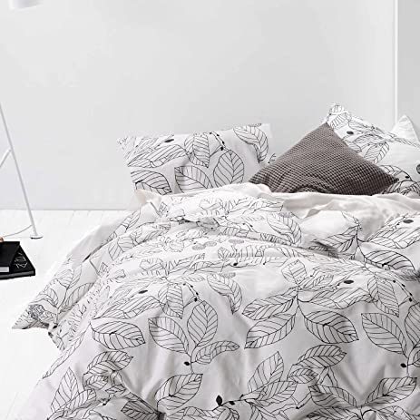 100% Cotton, 3pcs White Duvet Cover Set, Black Tree Leaves Pattern Printed  Bedding