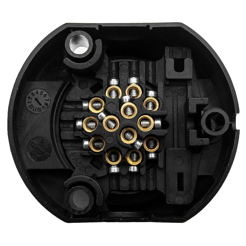 MASO wasserdichte 13 bis 7-polige Anh/ängerkupplung Caravan-Anh/änger Elektrik-Stecker-Adapter geeignet f/ür europ/äische Standard-Anh/änger Trailer Socket Converter