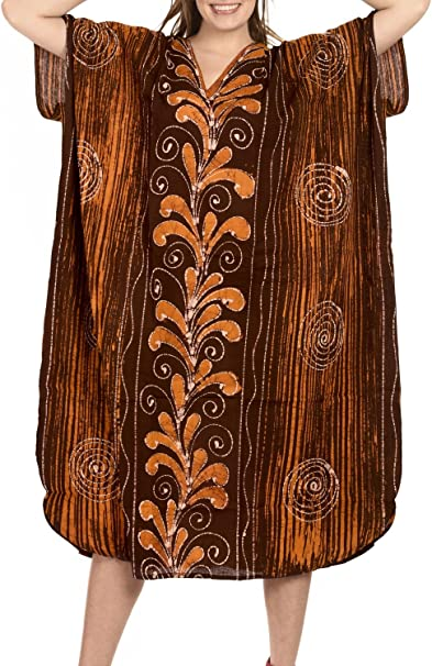 TALLA 42-46. LA LEELA Mujeres Caftán Algodón túnica Batik Kimono Libre tamaño Largo Maxi Vestido de Fiesta para Loungewear Vacaciones Ropa de Dormir Playa Todos los días Cubrir Vestidos GI