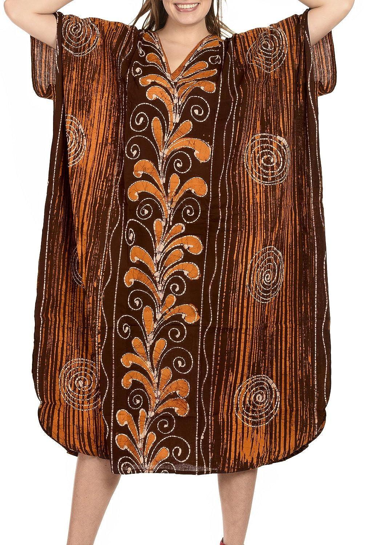 LA LEELA Mujeres Caftán Algodón túnica Batik Kimono Libre tamaño Largo Maxi Vestido de Fiesta para Loungewear Vacaciones Ropa de Dormir Playa Todos los días Cubrir Vestidos GI