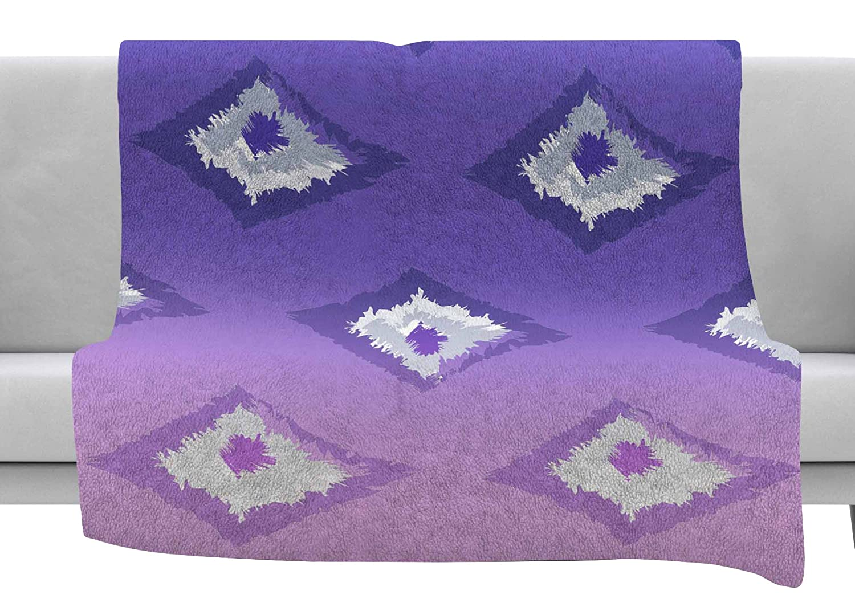 Kess InHouse Alison Coxon Purple Ombre Ikat Lavender White Throw 80 x 60 Fleece Blanket