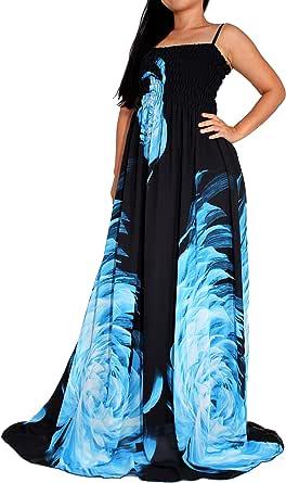 Women's Plus Size Maxi Dress Floral Print Long Floor Length Sleeveless Casual Beach Party Dresses XL 1X 2X 3X 4X