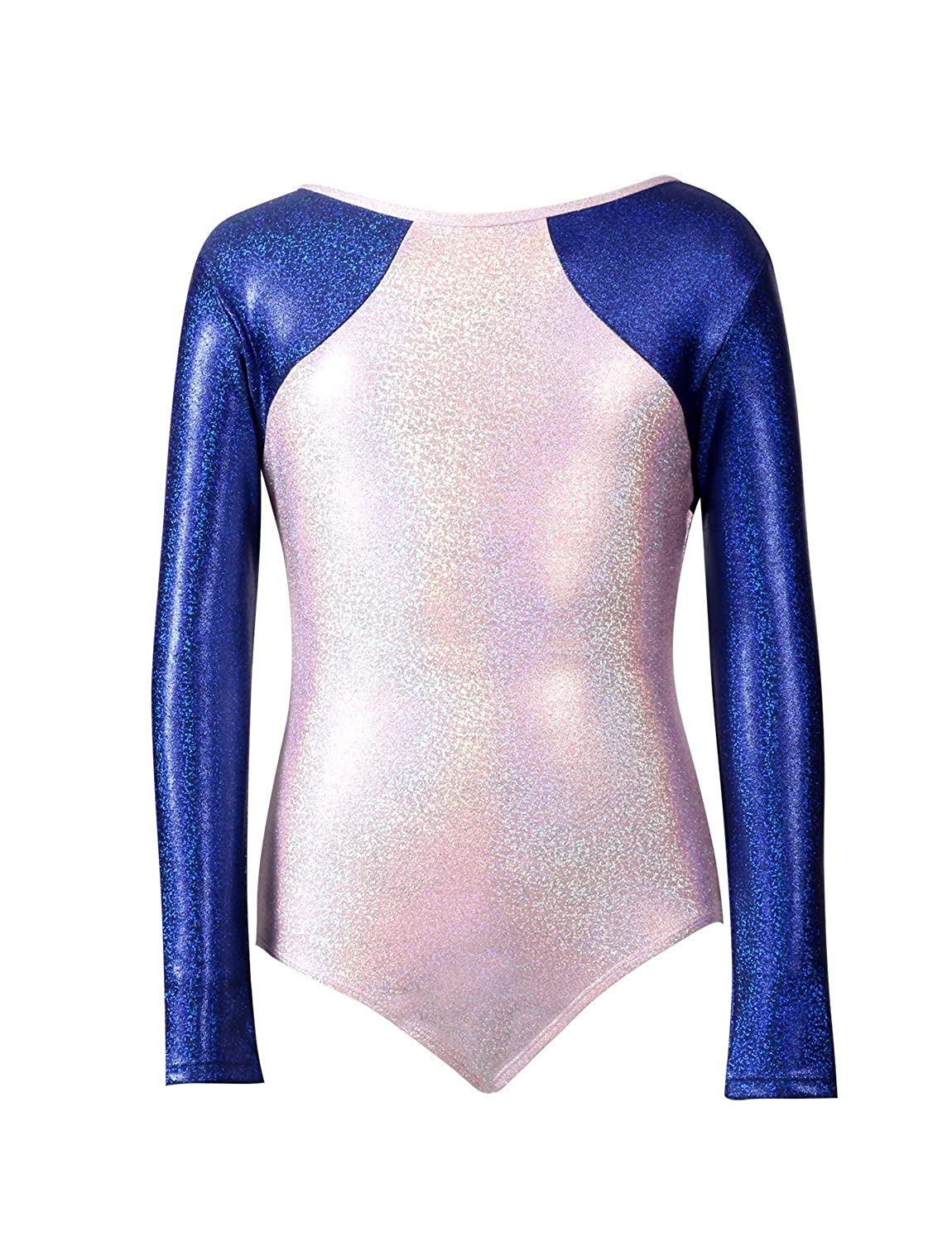 Pearl Pink a G8 VEVA Long Sleeve colorblock Competition Leotard