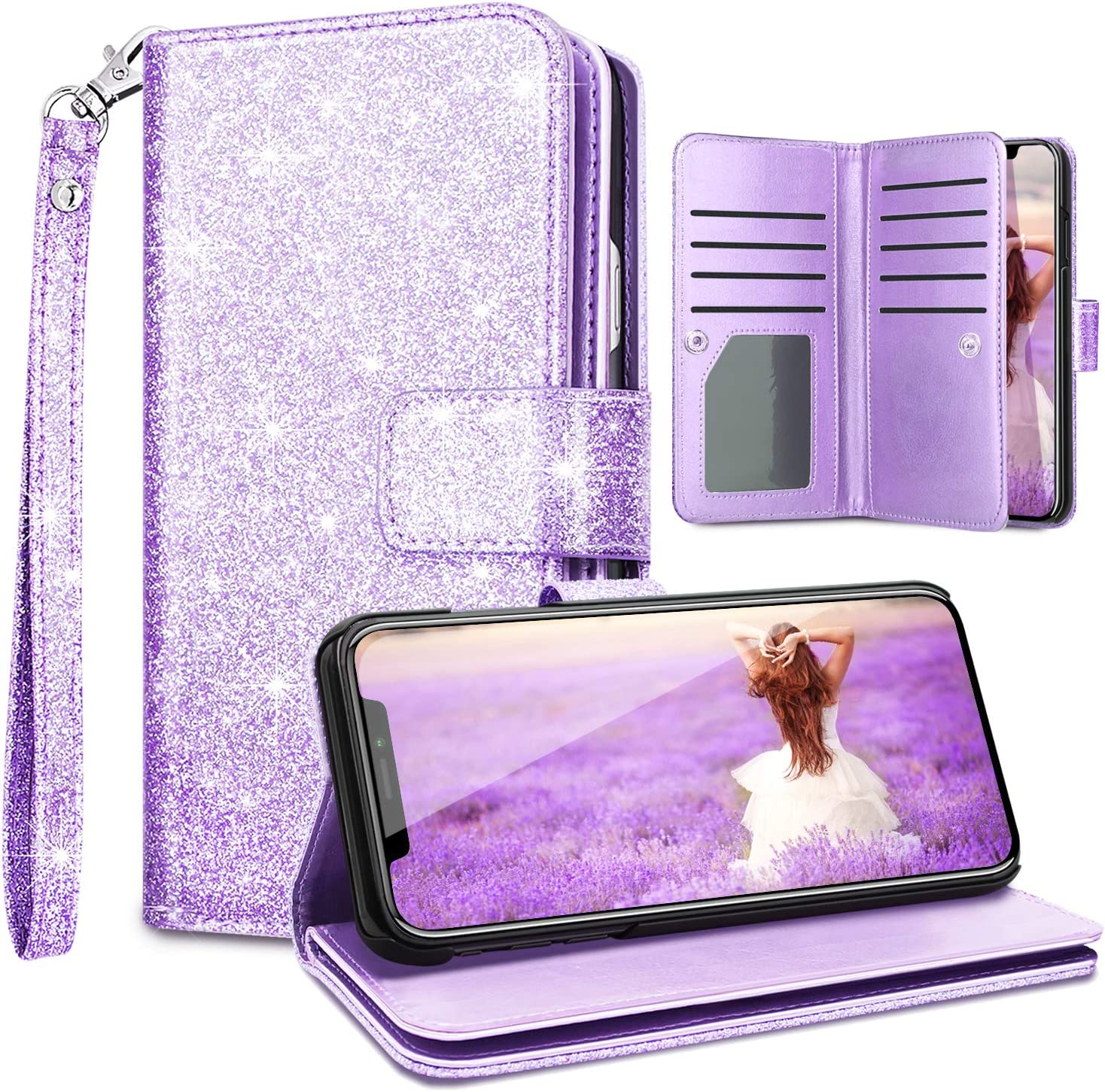 Fingic Cover for iPhone XR,iPhone XR Wallet Case,Glitter Sparkle Cover 9 Card Holder PU Leather Detachable Wrist Strap Wallet Case for Women Cover for Apple iPhone XR/iPhone XR 2018 6.1