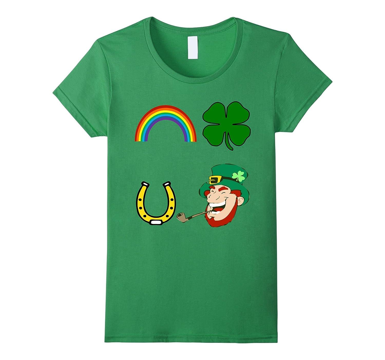 St Pats Day Shirt Rainbow Shamrock Horse Shoe Leprechaun