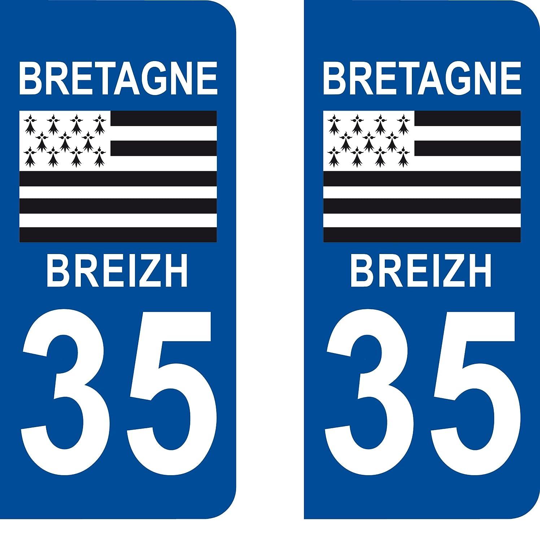 lovely 2 autocollants 35 Ile et Vilaine Bretagne plaque immatriculation département auto 35 : angles arrondis