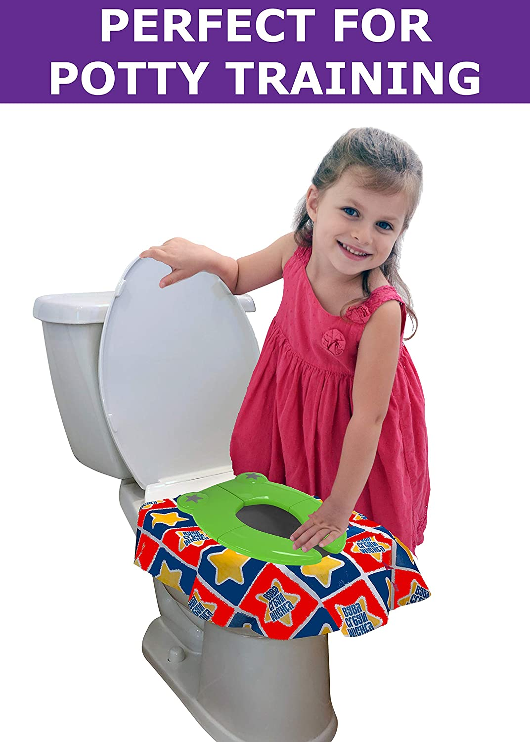 Large Travel Potty Foldable Kids and Toddlers Training Toilet Portable and Reusable Non-Slip Toilet for Boys and Girls with Drawstring Storage Bag and Garbage Bag for Outdoor Car Indoor Blue