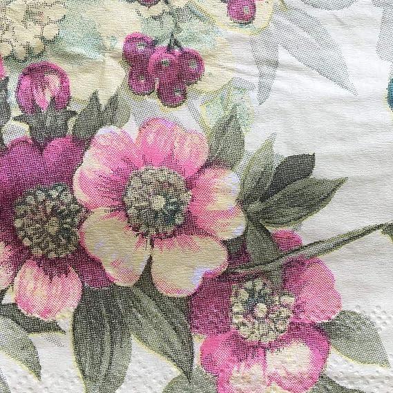 4 papel de Almuerzo Servilletas Para Decoupage Mesa de Fiesta Artesanía Vintage florts Azul Floral