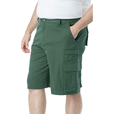 a593fe179e Boulder Creek Men's Big & Tall Side-Elastic Twill Cargo Shorts, Forest Green