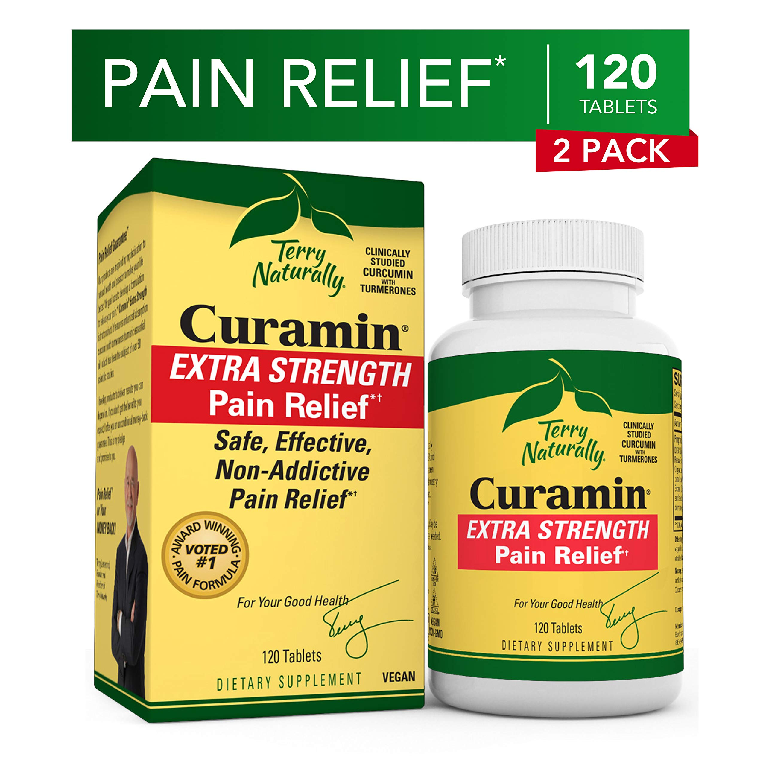 Terry Naturally Curamin Extra Strength (2 Pack) - 120 Vegan Tablets - Non-Addictive Pain Relief Supplement with Curcumin, Boswellia & DLPA - Non-GMO, Gluten-Free - 80 Total Servings
