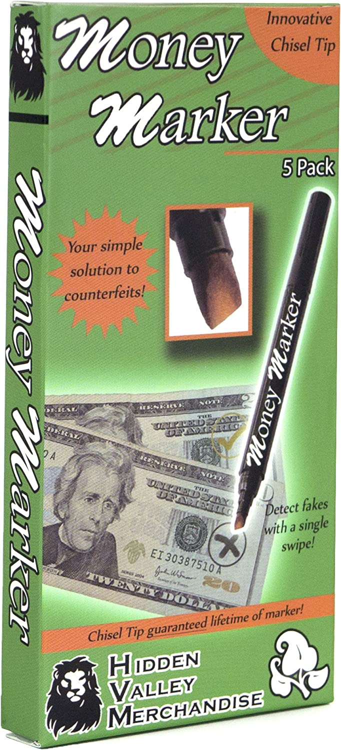 Money Marker (5 Counterfeit Pens) - Counterfeit Bill Detector Pen with Upgraded Chisel Tip