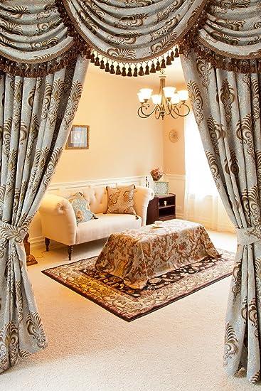 U0026quot;Bleu Fleur De Lisu0026quot;, Luxury Chenille Damask Valance Curtain Set  With Swags
