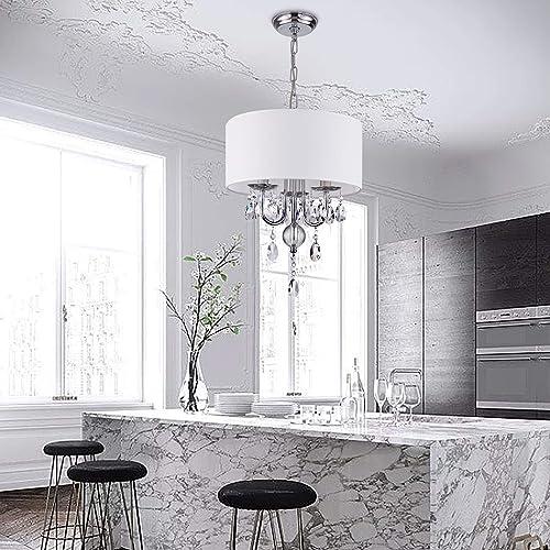 PAPAYA Crystal Chandelier Modern Drum Shade Pendant Lighting White Fabric Flush Mount Ceiling Light Adjustable Hanging Light Fixture