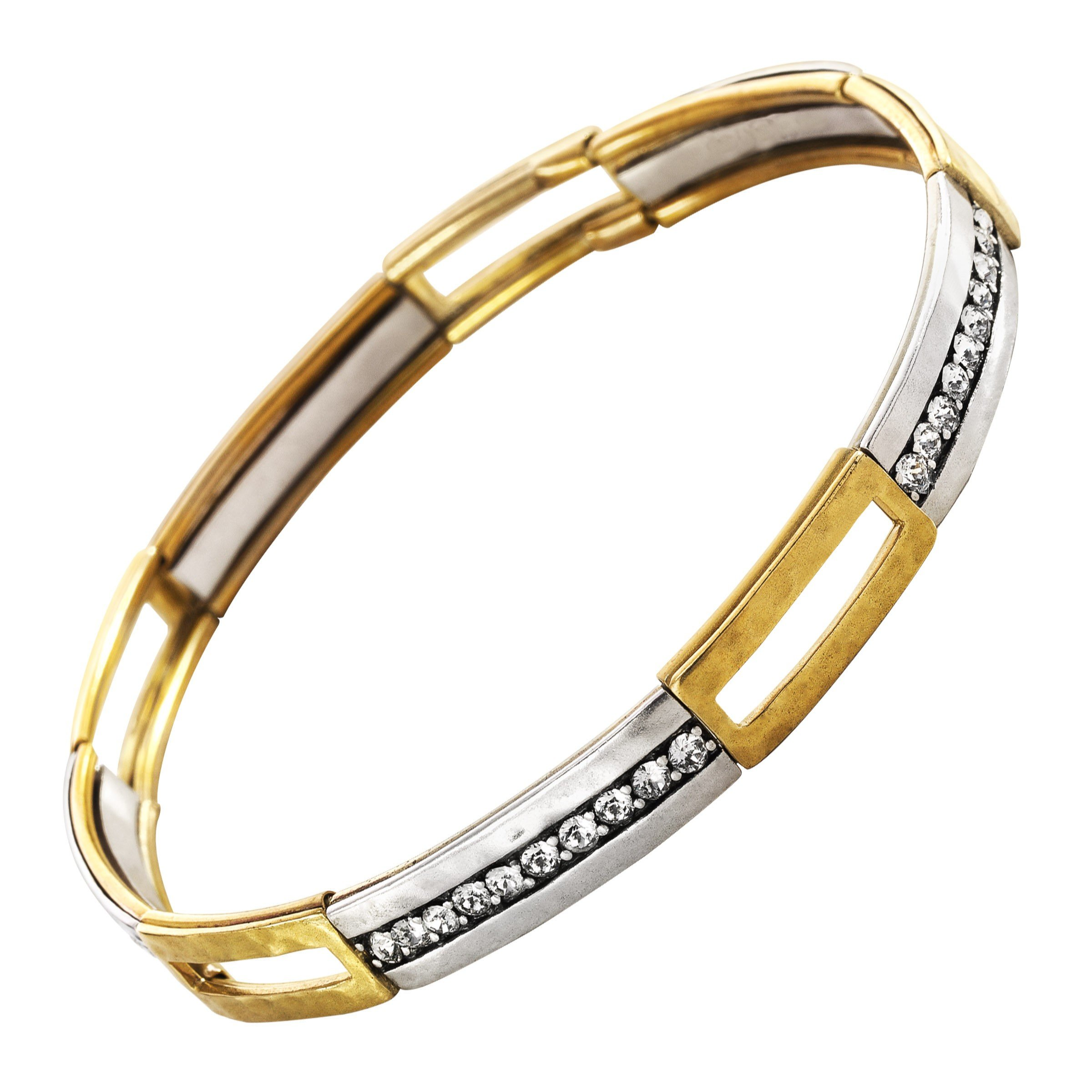 Silpada 'Fusion' Stretch Bracelet with Swarovski Crystals in Brass and Sterling Silver, 7.75''