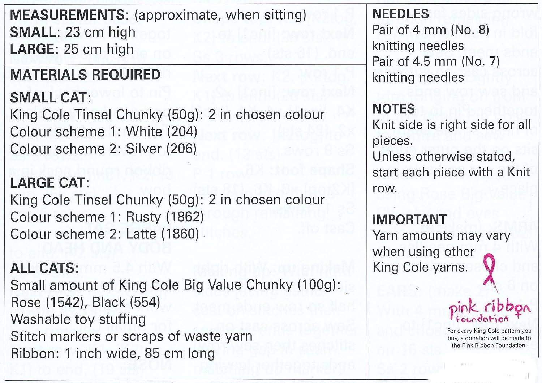 King Cole Tinsel Chunky  Knitting Pattern Tinsel Cats 9049