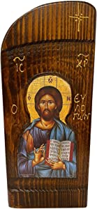 Handmade Greek Christian Orthodox Wood icon of Jesus Christ Blessing (26 X 11 cm or 10.2 X 4.3 In) Solid Wood