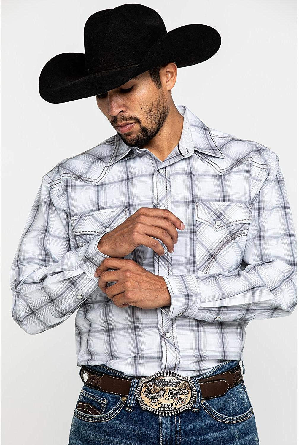 Panhandle Men/'s Rough Stock By Andover Ombre Stretch Plaid Long Sleeve Western
