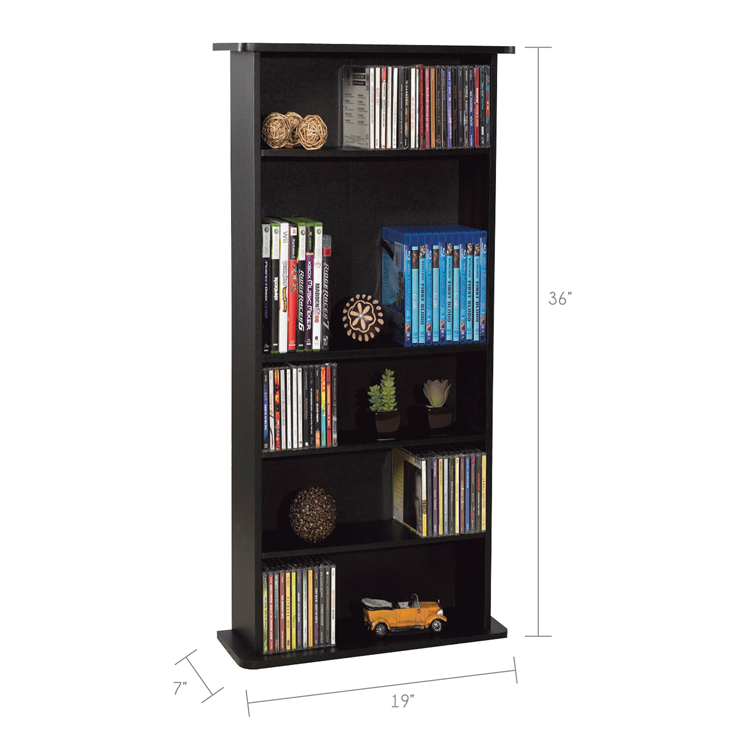 Atlantic Drawbridge Media Storage Cabinet - Store & Organize A Mix of Media 240Cds, 108DVDs Or 132 Blue-Ray/Video Games, Adjustable Shelves, PN37935726 in Black by Atlantic