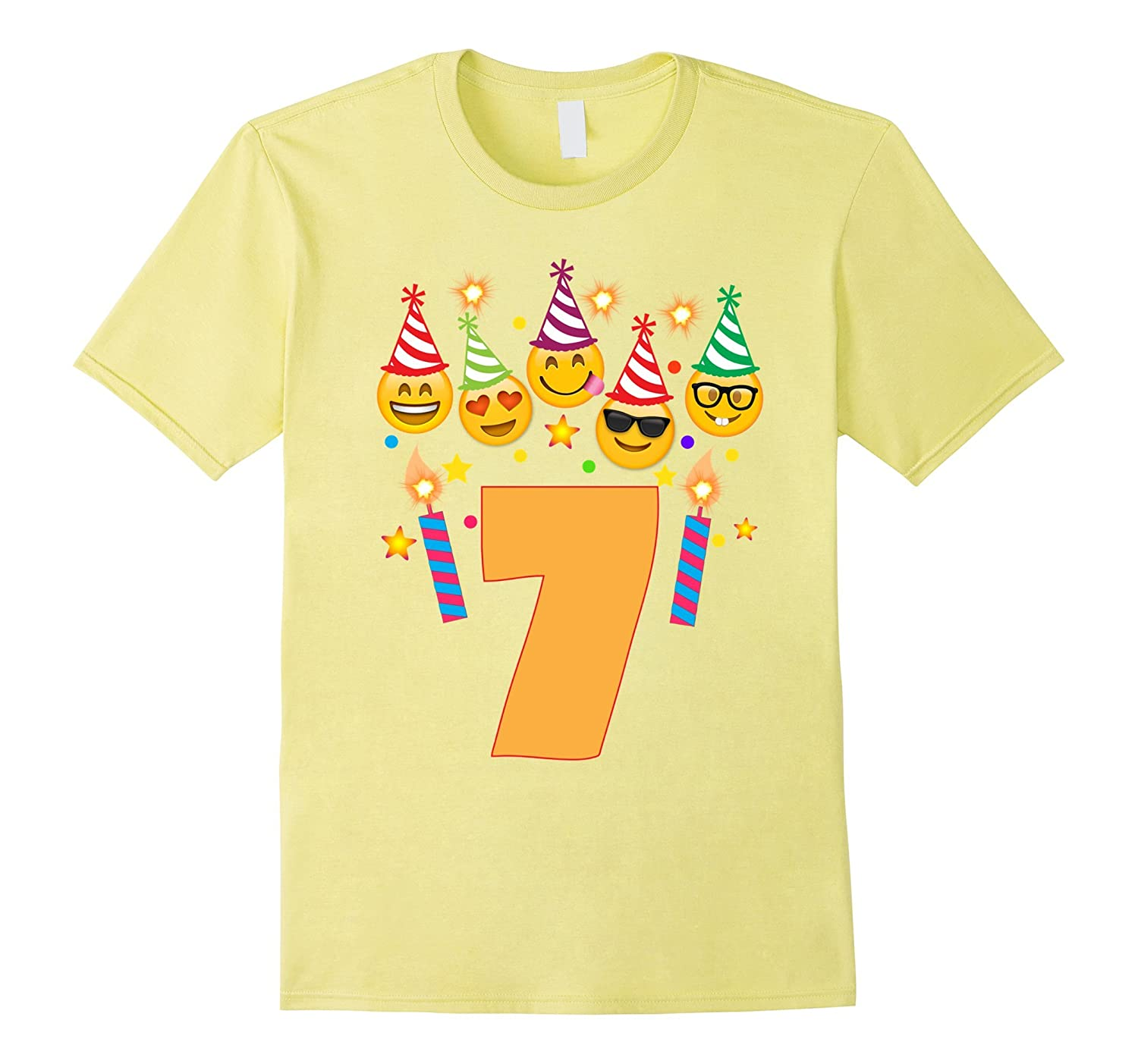 Emoji Birthday Shirt For 7 Seven Year Old Girl Boy Toddler
