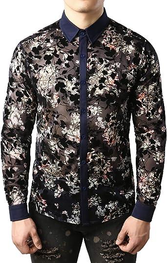 JOGAL Camisa informal de franela para hombre con diseño de flor transparente: Amazon.es: Ropa y accesorios