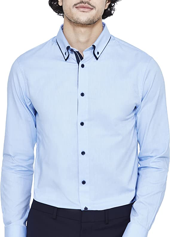 Celio LADOOBLE2 Camisa Casual, Azul (Bleu Ciel 201), M para ...